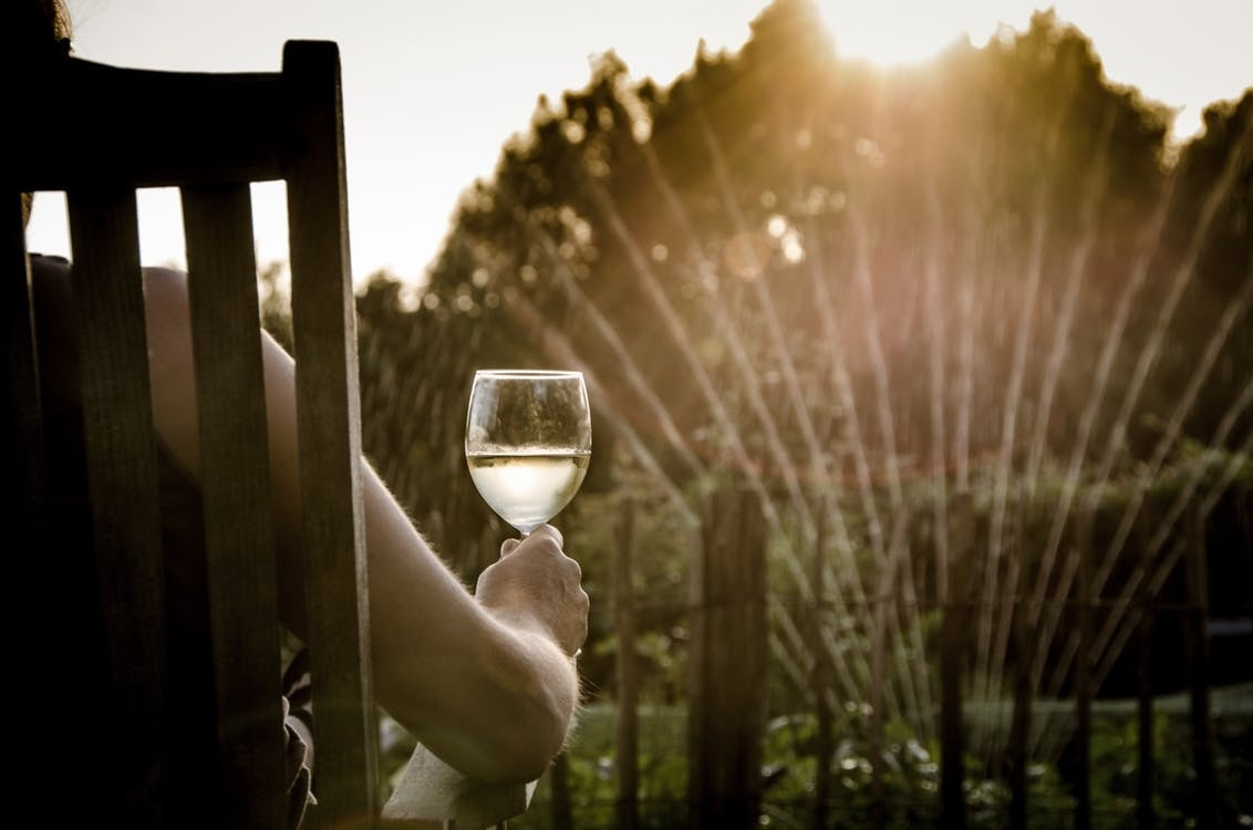 person drinking wine in sunset
